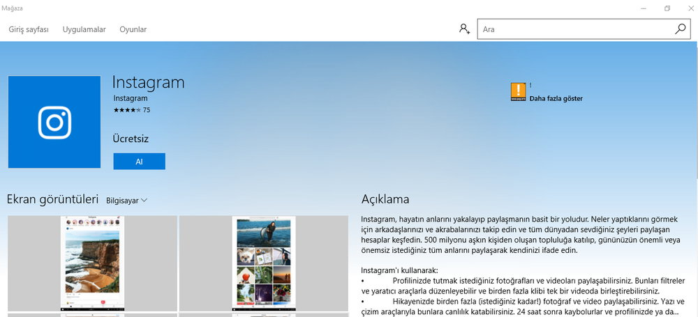 Windows 10 instagram uygulamas y kle adnan g ney for Windows 10 site