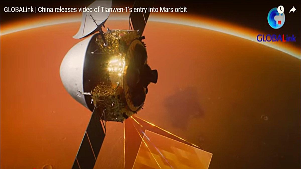Çin, Mars'ın Yörüngesine Giren Uzay Aracı Tianwen-1'in Kaydettiği İlk Videoyu Paylaştı