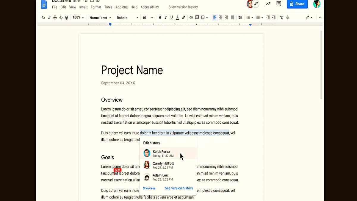 """""""Editörleri göster"""", Google Dokümanlar'da yapılan değişiklikler hakkında daha fazla bağlam sağlar Artık Google Dokümanlar'daki belirli bir içerik aralığının düzenleme geçmişiyle ilgili daha zengin bilgileri görüntüleyebilirsiniz."""